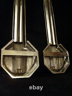 Ranc - Lorrain Paire D Apply Art Deco In Bronze Nickeled - Tulips 1930