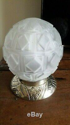 Rare Art Deco Lamp Boule Bronze Silver No. Muller Degué