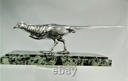 Rare Bronze Statue Silver Art Deco Faisan By Marcel Bouraine Orig Sculpture