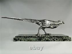 Rare Bronze Statue Silver Art Deco Faisan By Marcel Bouraine Sculpture Orig