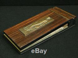 Rare Notepad Wood Macassar From Original Art Deco Bronze Plaque P. Turin 1925