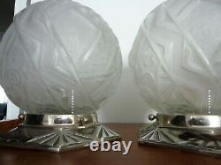 Rare, Pair Of Authentic Art Deco Lamps Signed Muller Brothers Lunéville