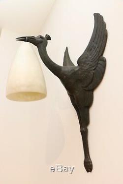 Rare Signed Albert Cheuret Patinated Bronze, Alabaster Tulip, 1925/1930