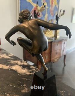 Rare Superb Bronze Marcel Bouraine Epoque Art Deco Dancer