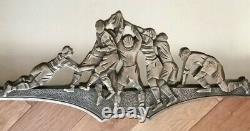 Rare Superb Old Art-deco Mirror In Silver Bronze Scrum Rugby Early 20th