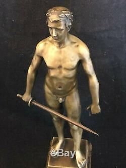 S. Schwatenberg 1898-1922 Athlete Art Deco Sword Bronze Nude Man Antique
