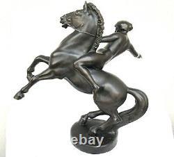 Sculpture Art Deco In Bronze Signed Anton Grath Naked Amazon Woman On Horse