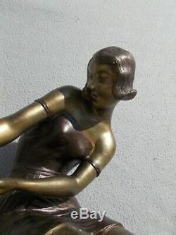 Sculpture Art Deco Statue Woman 1930 & Sea Lion Regulates Ballesté In Bronze