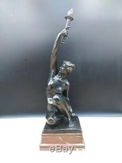 Sculpture Naked Woman Ancient Bronze Art Deco Flare A Puttemans Brussels