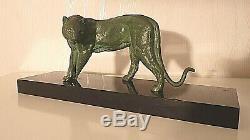 Sculpture Period Art Deco / Bronze / Panther / Rochard