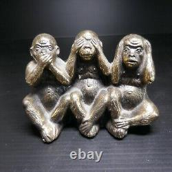Sculpture Statue Figurine 3 Monkeys Bronze Vintage De Design House Pn N4743