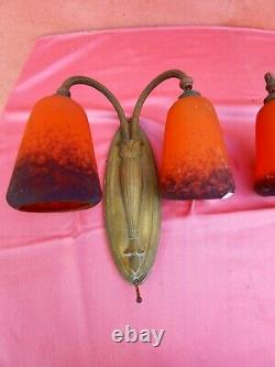 Set Of 4 Double Pairs Of Bronze Applique And Tulip Muller Frès 1920/30