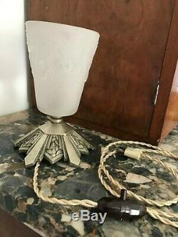 Sign Lamp Art Deco Bowl Muller Tulip Shell Donna Degue French Lamp Luster