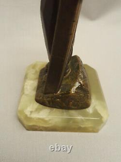 Skier Chryséléphantine Skier Sculpture In Bronze Art Deco