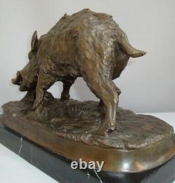 Statue Animal Wild Boar Hunting Art Deco Massive Bronze Sign