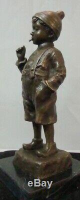 Statue Boy Smoking Style Art Deco Art Nouveau Bronze Massive Sign