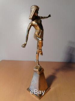 Statue Bronze Art Deco Alonzo Egyptian Dancer Mascot Cap Radiator