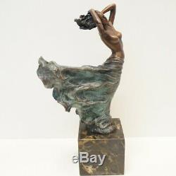 Statue Dancer Naked Art Deco Style Art Nouveau Bronze Massive Sign