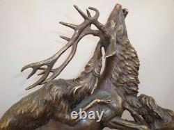 Statue Deer Dog Hunting Animal Tree Style Art Deco Massive Bronze Sign