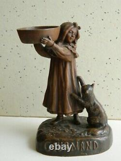 Statue Girl With Regular Cat Signed Ouvet Art Deco 1920 Bronze Patina