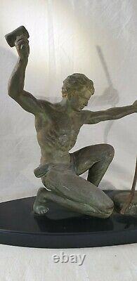 Statue Hervor Cast Iron Of Art Patina Bronze Art Deco Forgeron Sculpture