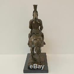 Statue Horse Knight Armor Style Art Deco Style Art Nouveau Solid Bronze Si
