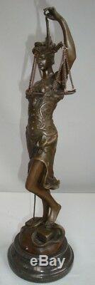 Statue Justice Themis Style Art Deco Style Art Nouveau Solid Bronze