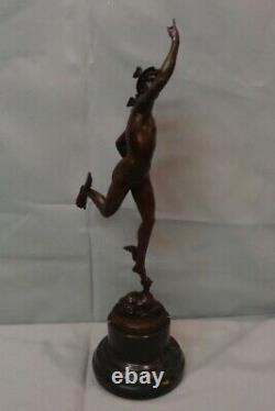 Statue Mercury Nu Style Art Deco Style Art Nouveau Bronze Solid Sign