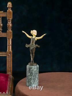 Statue Of Young Ballerina Postflow Ferdinand Preiss Art Deco -bronze