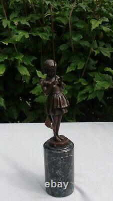 Statue Pecheuse Style Art Deco Style Art Nouveau Bronze Solid Sign