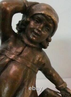 Statue Schoolboy Art Deco Style Art Nouveau Massive Bronze Sign