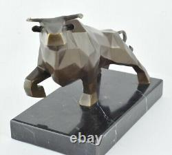 Statue Sculpture Bull Animal Style Art Deco Bronze Massive Sign