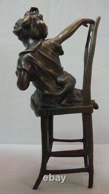 Statue Sculpture Cat Girl Chair Style Art Deco Style Art New Bronze Massi