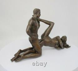 Statue Sculpture Couple Sexy Style Art Deco Solid Bronze Sign