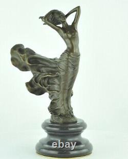 Statue Sculpture Naked Dancer Sexy Style Art Deco Massive Bronze