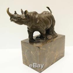 Statue Sculpture Rhinoceros Animal Style Art Deco Bronze Massive Sign