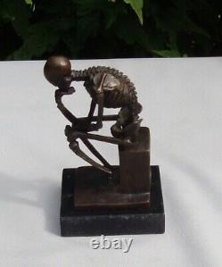 Statue Sculpture The Skeleton Thinner Style Art Deco Bronze Massive Sign