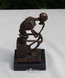 Statue Sculpture The Thinker Skeleton Style Art Deco Bronze Massive Sign
