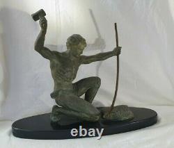 Statue Signed G. Hervor Bronze Patina Art Deco Forgeron 1930 Sculpture