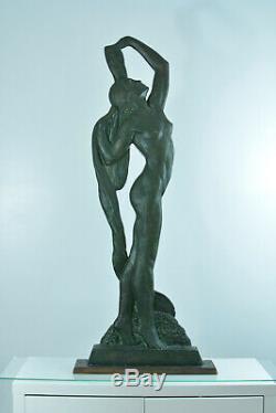 Statue Sylvestre Clerc Sculpture Art Deco Naked Woman Price Rome Pat. Bronze 125