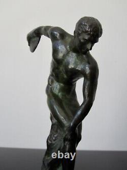 Statuette Art Deco Max Le Verrier Le Faguays Bronze Discobolle