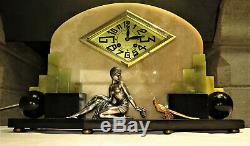 Superb Art Deco Marble Onyx Clock Bronze Clock Set French Garnish