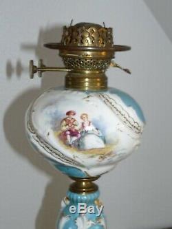 Superb Rare Large Oil Lamp Porcelain And Bronze 58cm 19th