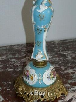Superb Rare Large Oil Lamp Porcelain And Bronze 58cm 19th