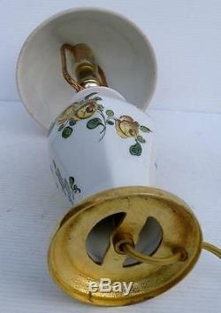 Superb Small Table Lamp In Earthenware Decorated Gilt Bronze Enamels