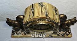 Superb Trim Silver Hanging Art Deco Marble Clock Spelter Bronze