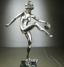 The 1920/1930 P Faguays Grd Statue Sculpture Art Deco Bronze Dancer Naked Argente