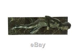 The Athlete Andrea Secondo 1920 Bronze And Marble Art Deco