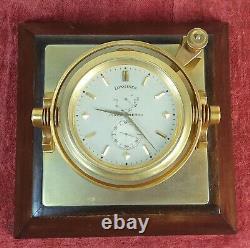 To Watch Stopwatch Marino. Longines Bronze At Base Of Mahogany. XX Century