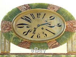 Topping From Fireplace In Art Deco Onyx And Bronze Pendulum Clock Reloj Uhr